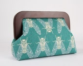 Wooden frame clutch bag - Cicada in teal - Trip purse / Japanese fabric / Cotton and steel / Rashida Coleman Hale / Neon green blue white