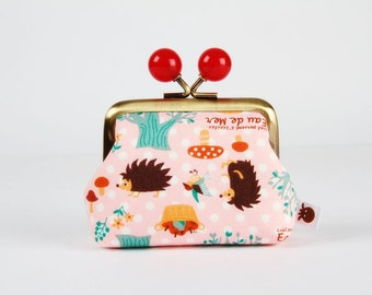 Metal frame coin purse with color bobbles - Eau de mer Hedgehogs on pink - Color mum / Cute japanese fabric / gray blue red orange teal