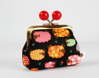 Metal frame coin purse with color bobbles - Cute sheep on black - Color mum / Japanese fabric / pink red orange green purple sheep