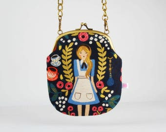 Metal frame purse with strap - Alice in Wonderland Canvas navy - Bag smile / Japanese fabric/  Cotton and Steel / Rifle Paper Co