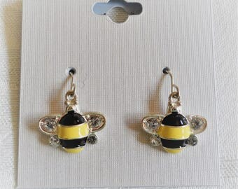 Bumble Bee Silver Tone & Clear Rhinestones Dangle Earrings