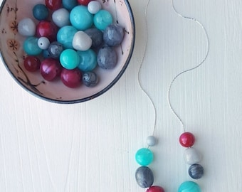 NECKLACE CLEARANCE crimson and clover - necklace - vintage lucite, remixed - grey teal cranberry red necklace
