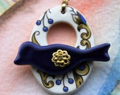 Blue and Gold Scrolls and Berries Bird Clasp -  Large Signature Bird Focal Ceramic Toggle Clasp