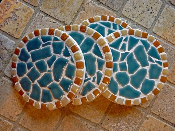 Mosaic Ceramic and Glass Coasters in Turquoise Ready to Ship 4 Coasters