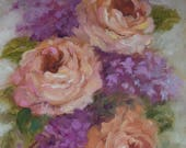 RESERVED for CP,Not For Sale,SOLD,Small Still Life Painting Peach Roses And Lilacs,6x8 Oil On Canvas Original by Cheri Wollenberg