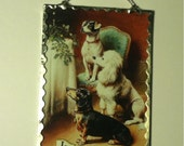 Dog Plaque Glittered Ornament for the Tree or Wall