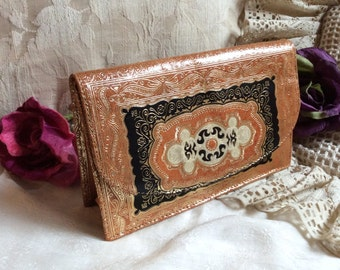 Vintage small Florentine gold embossed clutch shoulder bag, exotic Damascene etched leather clutch or chain bag, made Italy small leather