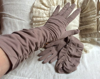 Vintage taupe gathered high fitted gloves, cottony nylon Shalimar sz 7 1/2 mushroom color high gloves, ruched dusty tan high arm gloves