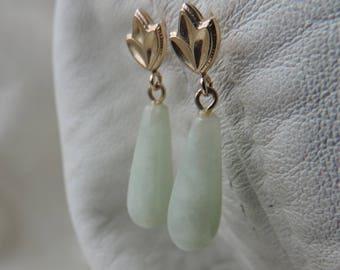 jade 14k gold earrings jade drop post earrings