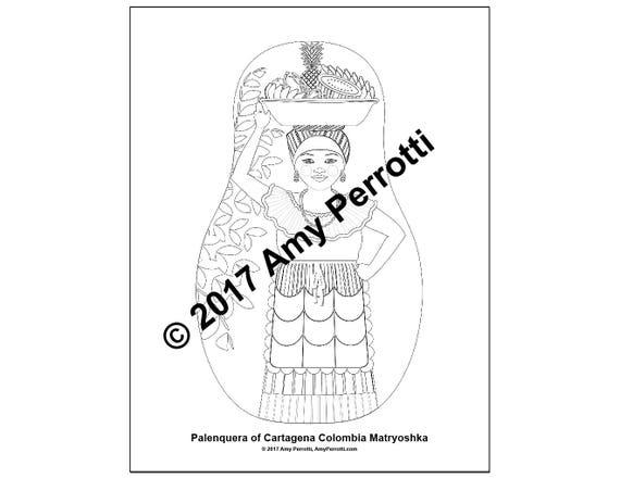 Colombian, Palenquera of Cartagena Matryoshka Coloring Sheet file Printable