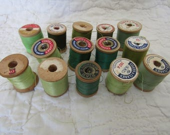 Vintage Wood Thread Spools Lot of 14 wooden thread spools textile thread Greens