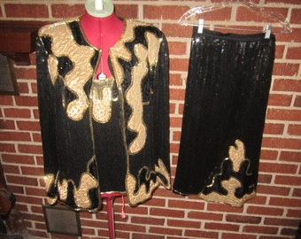 Vintage 1980s Heavy Beaded Sequined Gorgeous Black and Gold Pure Silk Lined 3 pc Ladies' Evening Dress Ensemble