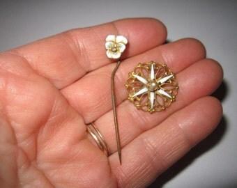 Antique Edwardian Lot of Two Beautiful White Enamel Pins