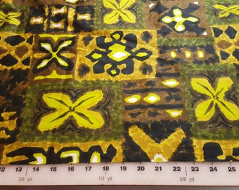 Green and Brown Hawaiian Tropical Cotton print almost 3yd