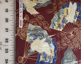 Cotton quilt Oriental theme burgundy background total aprox 2yd see description 20204