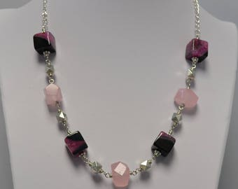 Agate and Rose Quartz Necklace with Matching Earrings