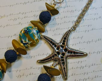Starfish-summer asymmetrical necklace-glass wood and metal, 31 inches or 78.5 cm