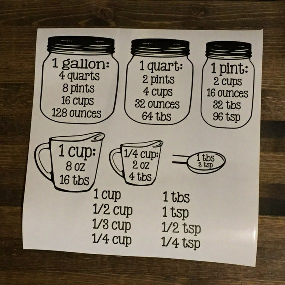 Measuring conversions set kitchen baking cooking cups for What kind of paint to use on kitchen cabinets for vinyl wall art stickers
