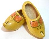 Vintage Wooden Dutch Shoes, Child's Wooden Shoes