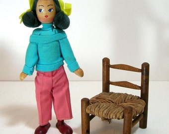 Wood Doll and Miniature Doll Chair