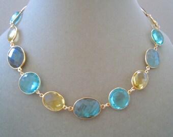 Magnolia -- One of a Kind -- Labradorite, Lemon Quartz, and Aquamarine Quartz Connector Necklace