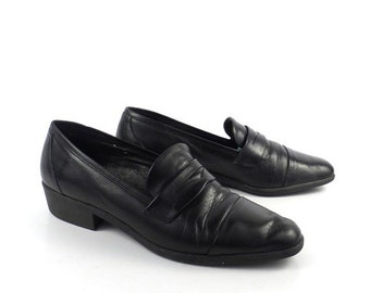 Amalfi Loafers Shoes Vintage 1980s Black Leather Made in Italy Women's size 7