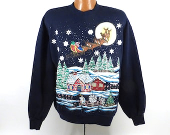 Ugly Christmas Sweater Vintage Sweatshirt Santa Scene Xmas Tacky Holiday