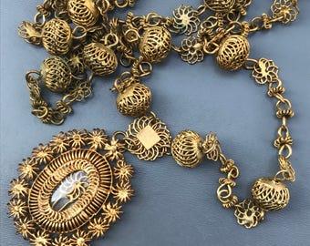 Vintage Necklace . Philippines Tambourine . Gold Gilt Filigree Flower Locket Pendant Tribal Jewelry