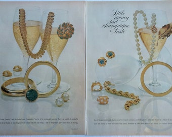 Monet Jewelry 1963 Ad for Little Money for Champagne Taste Great Provenance for Collectors!