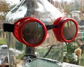 Steampunk Goggles, red frame, brass screen lens covers, welding, eye protection glasses, lightning pirate, cosplay, mad science supply
