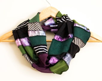 READY TO SHIP - Free Form Infinity Scarf - Eco Accessory - Made from Organic Fabrics - Purples, Greens & Black - One of a Kind - Gift - Boho
