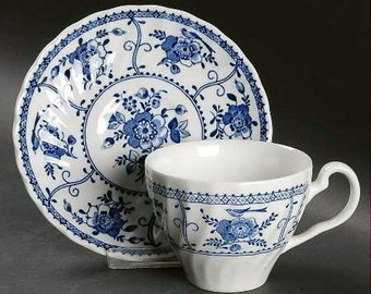 Johnson Bros Ironstone BLUE INDIES Cup & Saucer USA Excellent