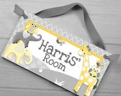 Springtime Sale Boys Bedroom Baby Nursery Yellow and Grey Jungle Animal Giraffe Elephant Owl DOOR SIGN DS0369