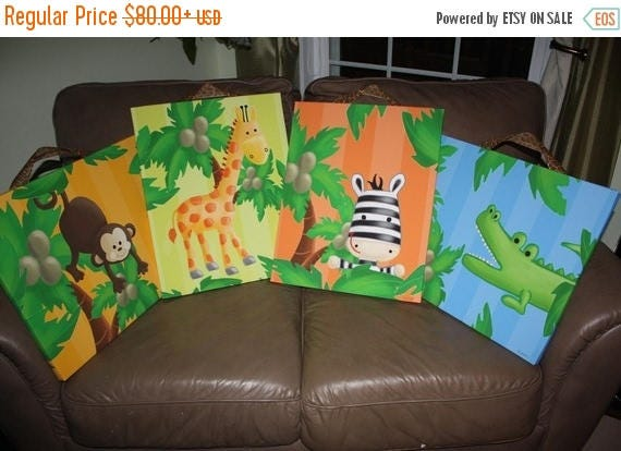 Spring SALE Set of 4 Bright Jungle Animal Stretched Canvases Baby Nursery CANVAS Bedroom Wall Art 4CS034