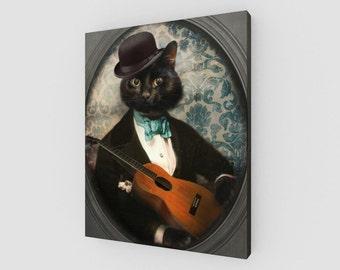 Canvas Art Black Cat Art Guitar Print Canvas Wall Art Pet Portrait Animal Photography Musician - Felix Fitzpatrick