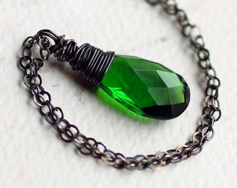 """Emerald Green Quartz Necklace on Oxidized Sterling Silver - """"Verdant"""" by CircesHouse on Etsy"""