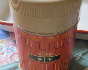 Vintage Orange Thermos Brand 3 Piece Wide Leak Proof One Pint Thermos Stopper and Cup