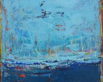 Blue Art Gratitude Original Painting by Francine Ethier, 30 x 30 inches