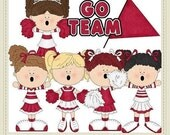 50% Off Sale Commercial Use Go Team Red set 1 Cheerleader Clip Art Graphics by Alice Smith