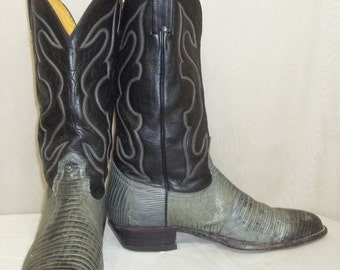 SWEETHEART SALE Vintage Mens Nocona Lizard Leather Cowboy Western Boots 9 1/2D Black Grey