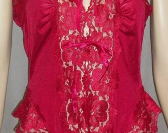 ON SALE Vintage Alana Gale Nylon Lace Teddy Romper Lingerie Large Lacy Crimson