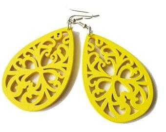 Yellow Filigree Teardrop Wooden Earrings