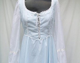 ON SALE 70s Blue Maxi Dress size Small GUNNE Sax Lace up Bodice Corset Style