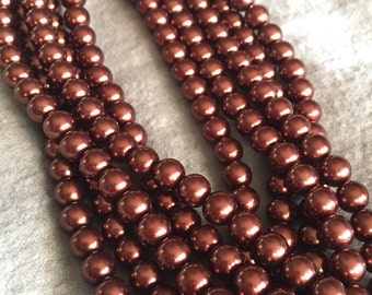 Chocolate Round Glass Pearls 15""