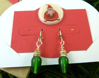 Green Christmas Tree Light Dangle Earrings.  With Handmade Card and Gift Bag.  Stocking Stuffer all Ready to Give as a Gift.