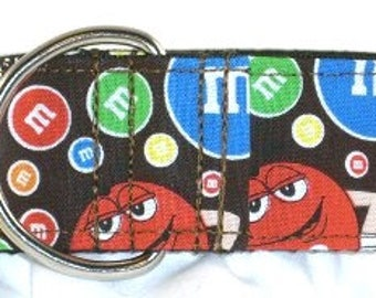 1.5 inch candy greyhound martingale dog collar, Hershey's, chocolate, circles, colorful, animated--M & M's-Brown