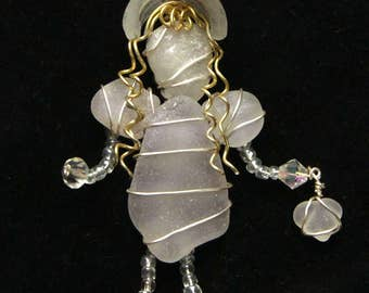 Sea Glass Sunbonnet Girl Suncatcher Ornament with Amethyst Sea Glass, Easter or Spring Ornament