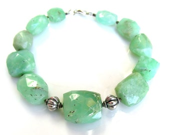 Faceted Chrysoprase Bracelet with Sterling Silver - NATURAL Chrysoprase Gemstone Beads