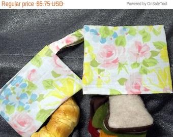 Sale 15% off Reusable Sandwich N Snack Bag Set, Pink Roses Print