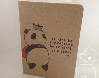 Hero Panda Field Notebook - Handmade Blank Pocket Sketchbook